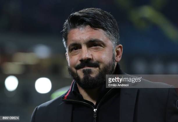 Milan coach Ivan Gennaro Gattuso looks on before the TIM Cup match between AC Milan and FC Internazionale at Stadio Giuseppe Meazza on December 27...