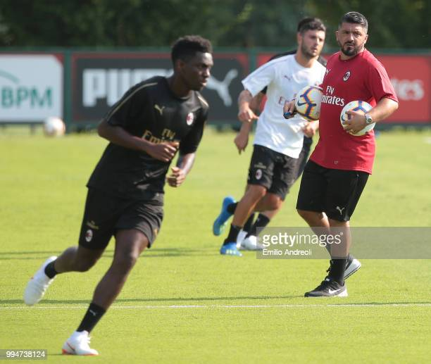 Milan coach Ivan Gennaro Gattuso looks on during the AC Milan training session at the club's training ground Milanello on July 9 2018 in Solbiate...