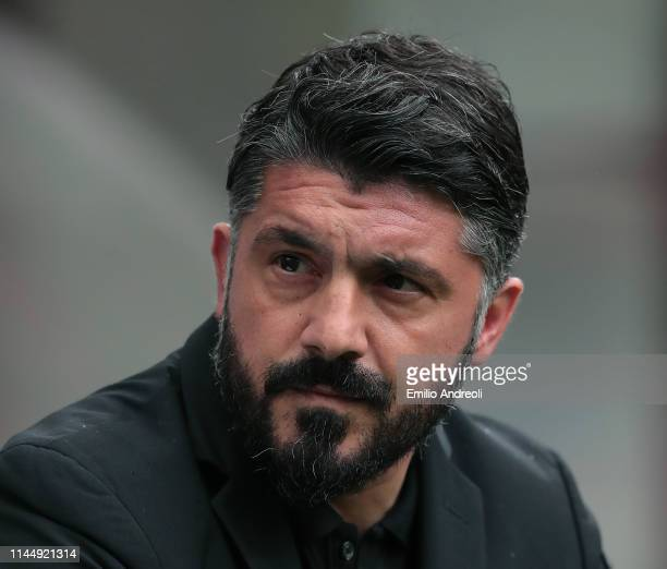 Milan coach Ivan Gennaro Gattuso looks on during the Serie A match between AC Milan and Frosinone Calcio at Stadio Giuseppe Meazza on May 19 2019 in...