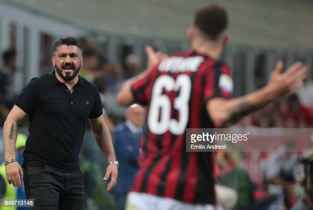 Milan coach Ivan Gennaro Gattuso looks on during the serie A match between AC Milan and Benevento Calcio at Stadio Giuseppe Meazza on April 21 2018...
