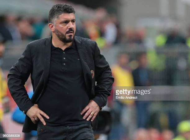 Milan coach Ivan Gennaro Gattuso looks on during the serie A match between AC Milan and ACF Fiorentina at Stadio Giuseppe Meazza on May 20 2018 in...