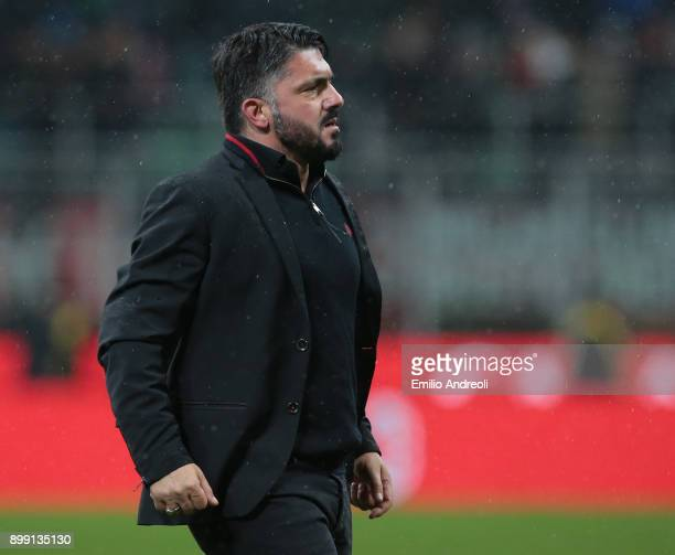 Milan coach Ivan Gennaro Gattuso looks on during the TIM Cup match between AC Milan and FC Internazionale at Stadio Giuseppe Meazza on December 27...