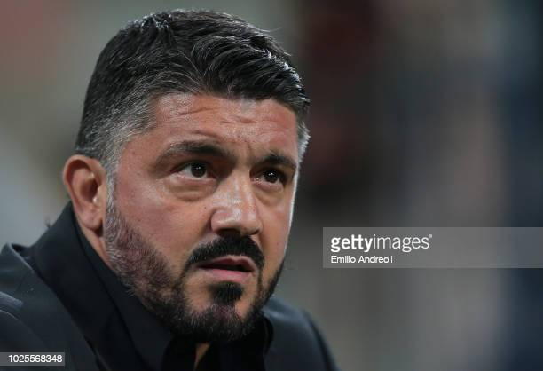 Milan coach Ivan Gennaro Gattuso looks on prior to the serie A match between AC Milan and AS Roma at Stadio Giuseppe Meazza on August 31 2018 in...
