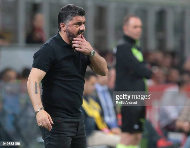 Milan coach Ivan Gennaro Gattuso reacts during the serie A match between AC Milan and Benevento Calcio at Stadio Giuseppe Meazza on April 21 2018 in...