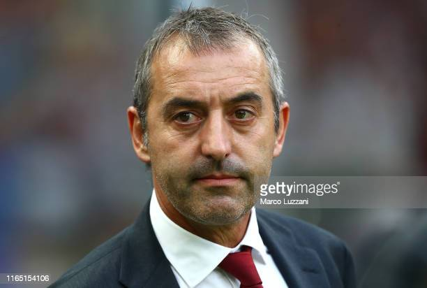 Milan coach Marco Giampaolo looks on before the Serie A match between AC Milan and Brescia Calcio at Stadio Giuseppe Meazza on September 1 2019 in...