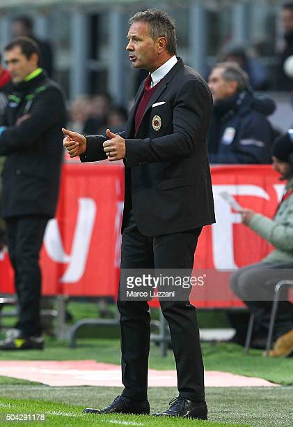 Milan coach Sinisa Mihajlovic gestures during the Serie A match between AC Milan and Bologna FC at Stadio Giuseppe Meazza on January 6 2016 in Milan...