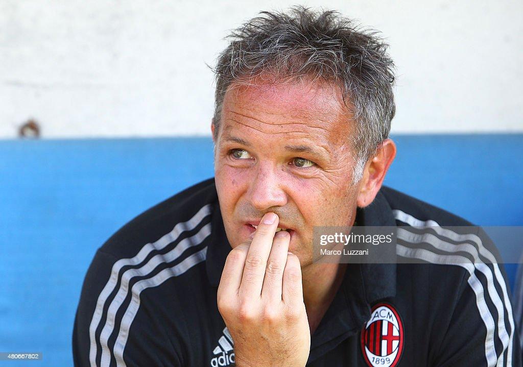 AC Milan coach Sinisa Mihajlovic looks on before the preseason friendly match between AC Milan and Legnano on July 14, 2015 in Solbiate Arno, Italy.