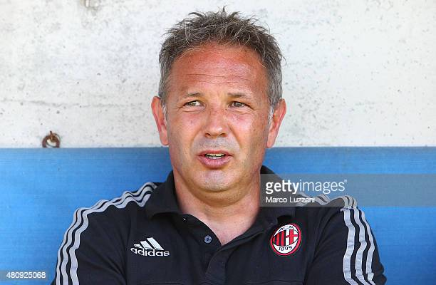 Milan coach Sinisa Mihajlovic looks on before the preseason friendly match between AC Milan and Legnano on July 14 2015 in Solbiate Arno Italy