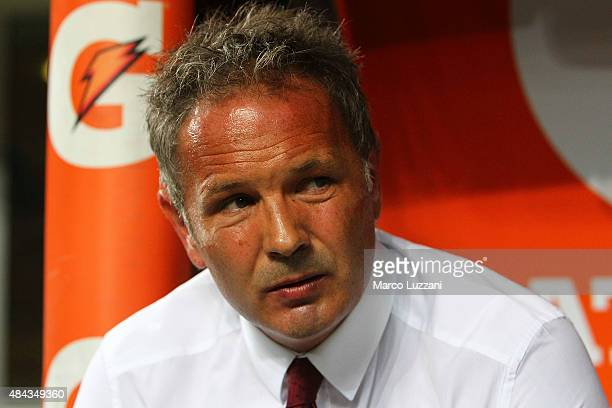Milan coach Sinisa Mihajlovic looks on before the TIM Cup match between AC Milan and AC Perugia at Stadio Giuseppe Meazza on August 17 2015 in Milan...