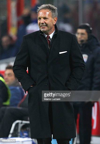 Milan coach Sinisa Mihajlovic looks on during the Serie A match between AC Milan and UC Sampdoria at Stadio Giuseppe Meazza on November 28 2015 in...