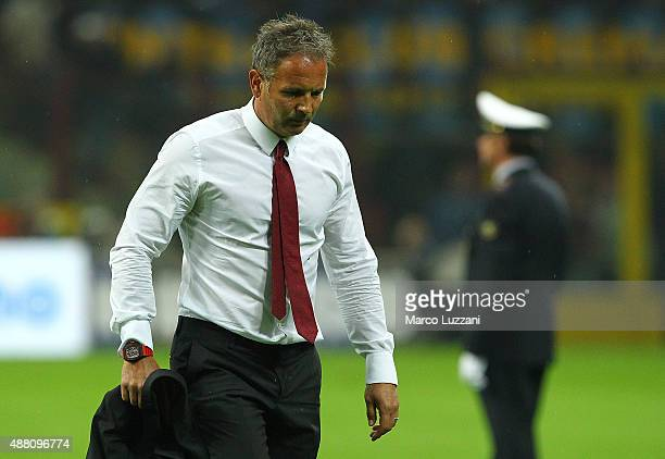 Milan coach Sinisa Mihajlovic shows his dejection at the end of the Serie A match between FC Internazionale Milano and AC Milan at Stadio Giuseppe...