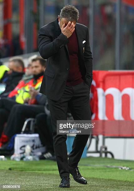 Milan coach Sinisa Mihajlovic shows his dejection during the Serie A match between AC Milan and Bologna FC at Stadio Giuseppe Meazza on January 6...