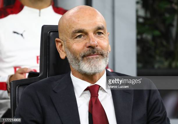 Milan coach Stefano Pioli looks on before the Serie A match between AC Milan and US Lecce at Stadio Giuseppe Meazza on October 20, 2019 in Milan,...