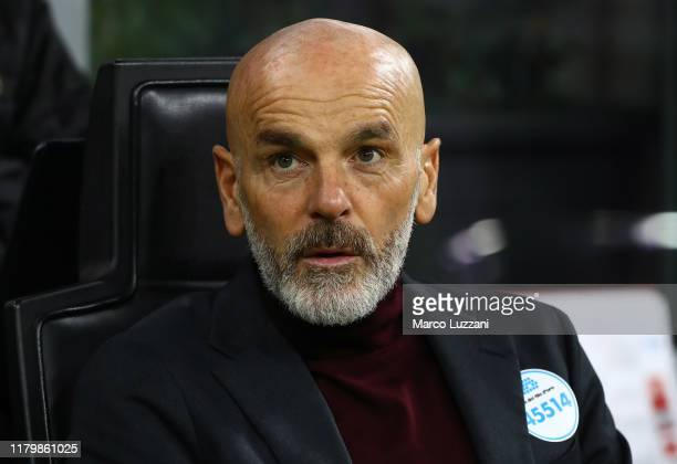 Milan coach Stefano Pioli looks on before the Serie A match between AC Milan and SS Lazio at Stadio Giuseppe Meazza on November 3 2019 in Milan Italy