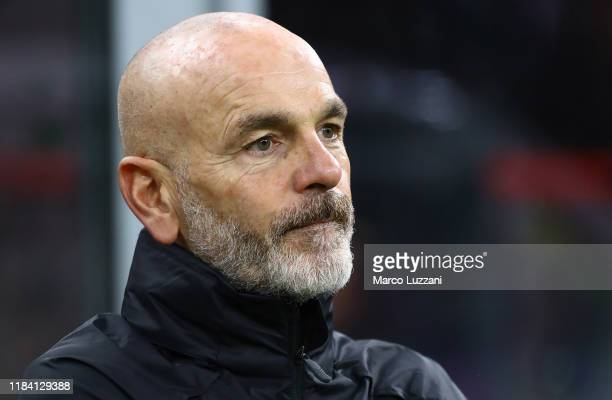 Milan coach Stefano Pioli looks on before the Serie A match between AC Milan and SSC Napoli at Stadio Giuseppe Meazza on November 23 2019 in Milan...