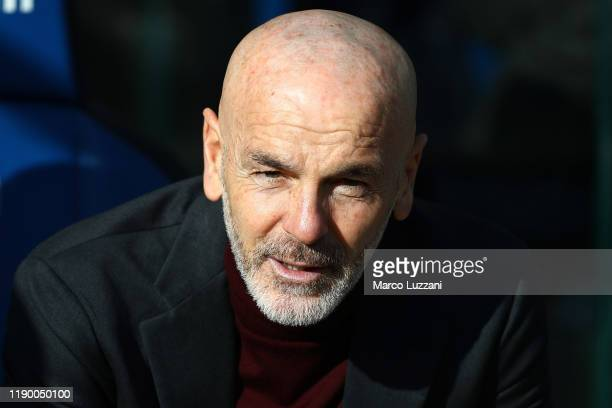 Milan coach Stefano Pioli looks on before the Serie A match between Atalanta BC and AC Milan at Gewiss Stadium on December 22 2019 in Bergamo Italy