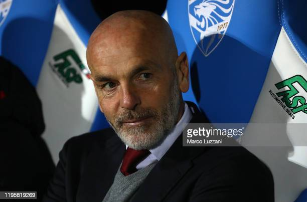 Milan coach Stefano Pioli looks on before the Serie A match between Brescia Calcio and AC Milan at Stadio Mario Rigamonti on January 24 2020 in...