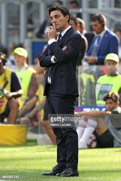Milan coach Vincenzo Montella looks dejection during the Serie A match between AC Milan and Udinese Calcio at Stadio Giuseppe Meazza on September 11...