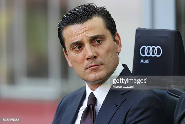 Milan coach Vincenzo Montella looks on before the Serie A match between AC Milan and FC Torino at Stadio Giuseppe Meazza on August 21 2016 in Milan...