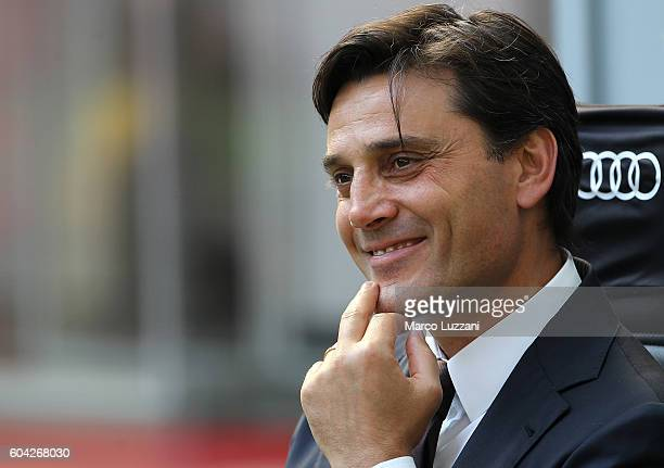 Milan coach Vincenzo Montella looks on before the Serie A match between AC Milan and Udinese Calcio at Stadio Giuseppe Meazza on September 11 2016 in...