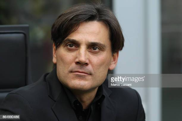 Milan coach Vincenzo Montella looks on before the Serie A match between AC Milan and Genoa CFC at Stadio Giuseppe Meazza on October 22 2017 in Milan...