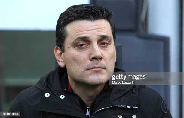 Milan coach Vincenzo Montella looks on before the Serie A match between AC Milan and Torino FC at Stadio Giuseppe Meazza on November 26 2017 in Milan...
