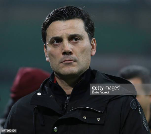 Milan coach Vincenzo Montella looks on before the UEFA Europa League group D match between AC Milan and Austria Wien at Stadio Giuseppe Meazza on...