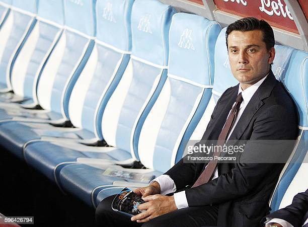 Milan coach Vincenzo Montella looks prior the Serie A match between SSC Napoli and AC Milan at Stadio San Paolo on August 27 2016 in Naples Italy