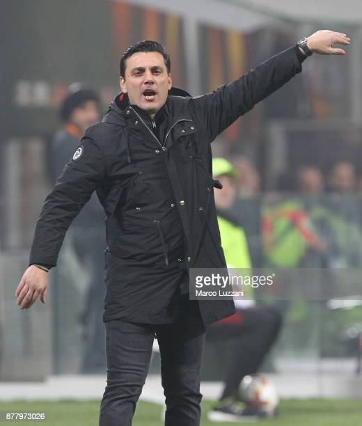 Milan coach Vincenzo Montella shouts to his players during the UEFA Europa League group D match between AC Milan and Austria Wien at Stadio Giuseppe...