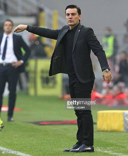 Milan coach Vincenzo Montella watches the action during the Serie A match between AC Milan and Pescara Calcio at Stadio Giuseppe Meazza on October 30...