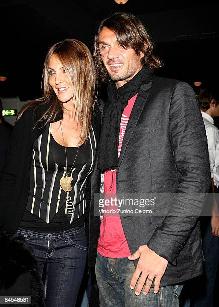 Milan Defender Paolo Maldini and wife Adriana Fossa attend XXIII Years of Glam Your Key To Hollywood Discoteque Nightlife Party on January 29 2009 in...