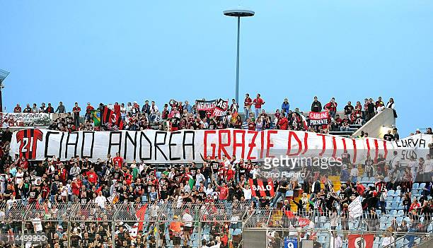 Milan display a banner which reads 'Ciao Andrea grazie di tutto' for Andrea Pirlo during the Serie A match between Udinese Calcio and AC Milan at...