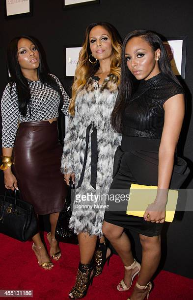 Milan Drake Alisa Maria and Dejroune Drake attend Angela Simmons' Back To The Basics fashion show during Style360 Spring 2015 Fashion Week on...