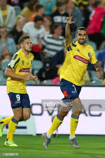 Milan Duric of the Central Coast Mariners celebrates a goal during the round two ALeague match between the Central Coast Mariners and the Newcastle...