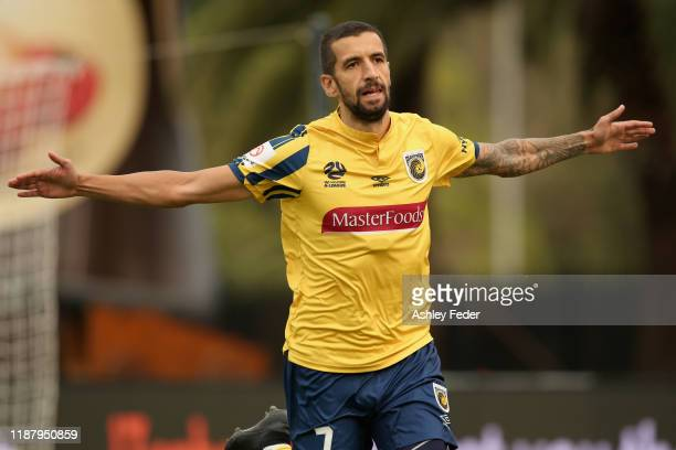 Milan Duric of the Central Coast Mariners celebrates his goal during the round 6 ALeague match between the Central Coast Mariners and Adelaide United...