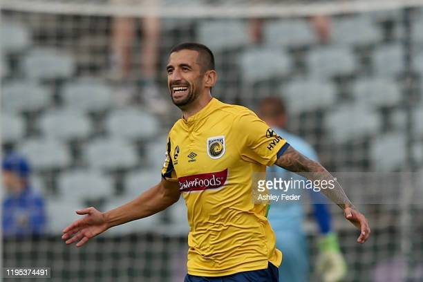 Milan Duric of the Central Coast Mariners celebrates his goal during the round 11 ALeague match between the Central Coast Mariners and Adelaide...