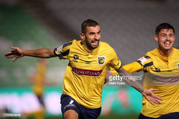 Milan Duric of the Mariners celebrates after scoring a goal during the round 28 A-League match between the Central Coast Mariners and the Western...