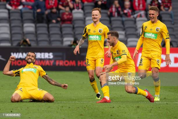 Milan Duric of the Mariners celebrates scoring a goal during the round one ALeague match between the Western Sydney Wanderers and the Central Coast...