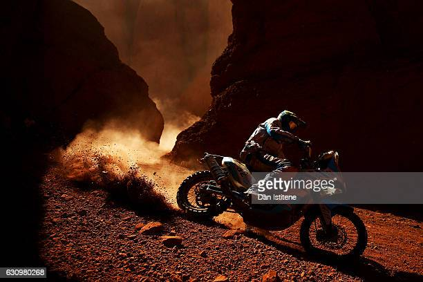 Milan Engel of the Czech Republic and KTM rides a 450 Rally Replica KTM bike in the Classe 21 Super Production during stage three of the 2017 Dakar...