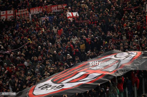 Milan fans during the TIM Cup match between SS Lazio and AC Milan at Olimpico Stadium on February 28 2018 in Rome Italy