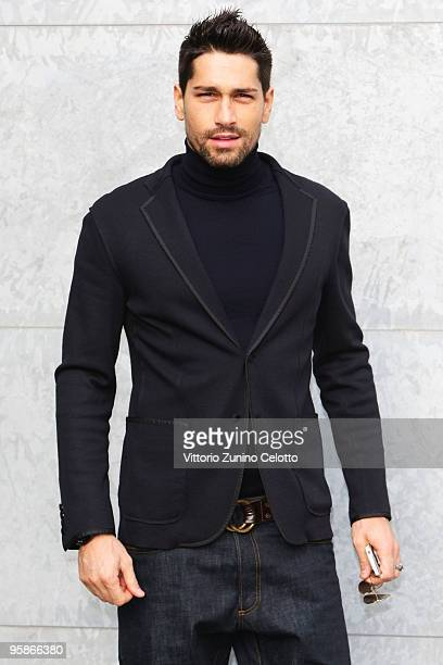 Milan Football Player Marco Borriello attends the Giorgio Armani Milan Menswear Autumn/Winter 2010 show on January 19 2010 in Milan Italy