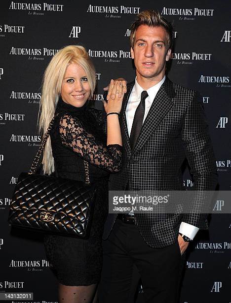 AC Milan football player Maxi Lopez and wife Wanda Nara attend a gala dinner for the Royal Oak 40 Years From AvantGarde to Icon exhibition at the Old...