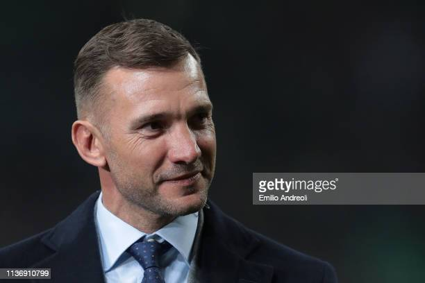 Milan former player Andriy Shevchenko looks on prior to the Serie A match between AC Milan and SS Lazio at Stadio Giuseppe Meazza on April 13 2019 in...