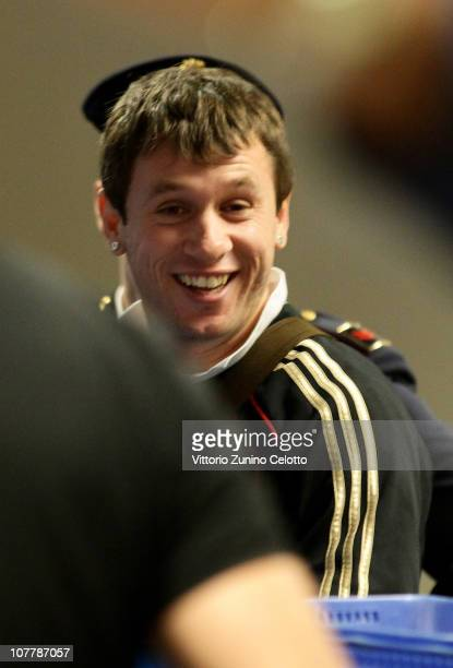 Milan forward Antonio Cassano is seen at Malpensa Airport before the departure for AC Milan Training Camp in Dubai on December 27 2010 in Milan Italy