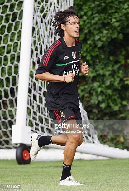 Milan forward Filippo Inzaghi in action during a training session at Milanello on July 12 2011 in Solbiate Arno Italy