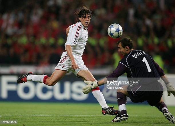 Milan forward Hernan Crespo of Argentina scores the third goal past Liverpool goalkeeper Jerzy Dudek of Poland during the European Champions League...