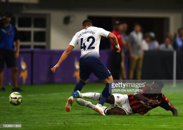AC Milan Franck Kessie fights for the ball with Tottenham Hotspur's Anthony Georgiou during the International Champions Cup friendly football match...