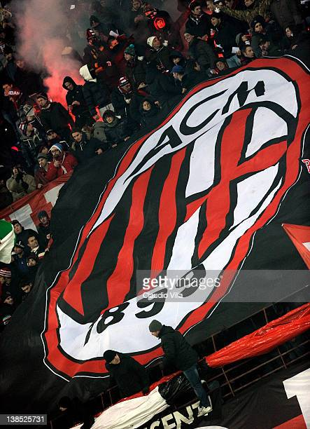 Milan gans show their support lwith a large banner during the Tim Cup match between AC Milan and Juventus FC at Giuseppe Meazza Stadium on February 8...