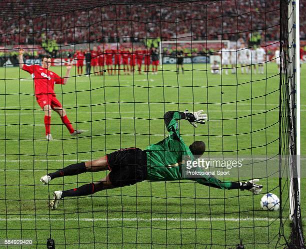 Milan goalkeeper Dida saves the penalty of john Arne Riise of Liverpool in the shootout during the UEFA Champions League final between Liverpool and...