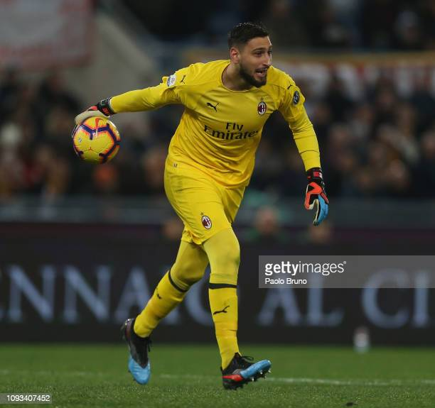Milan goalkeeper Gianluigi Donnarumma in action during the Serie A match between AS Roma and AC Milan at Stadio Olimpico on February 3 2019 in Rome...